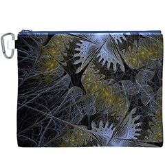 Fractal Wallpaper With Blue Flowers Canvas Cosmetic Bag (xxxl)