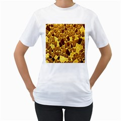 Yellow Cast Background Women s T Shirt (white) (two Sided)