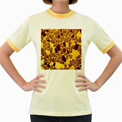 Yellow Cast Background Women s Fitted Ringer T Shirts