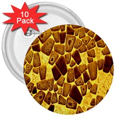 Yellow Cast Background 3  Buttons (10 Pack)