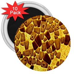 Yellow Cast Background 3  Magnets (10 Pack)