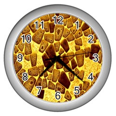 Yellow Cast Background Wall Clocks (silver)