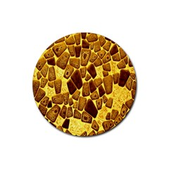 Yellow Cast Background Rubber Round Coaster (4 pack)