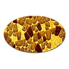 Yellow Cast Background Oval Magnet