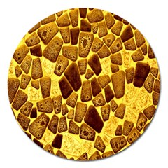 Yellow Cast Background Magnet 5  (round)