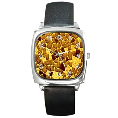 Yellow Cast Background Square Metal Watch
