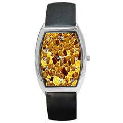 Yellow Cast Background Barrel Style Metal Watch