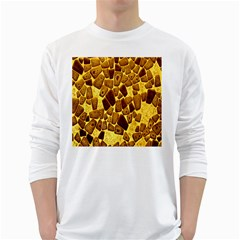 Yellow Cast Background White Long Sleeve T Shirts
