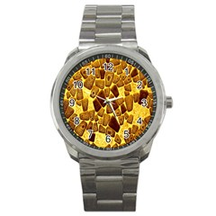 Yellow Cast Background Sport Metal Watch