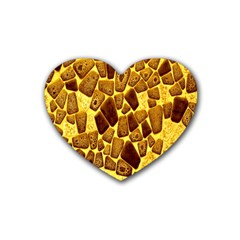 Yellow Cast Background Rubber Coaster (heart)