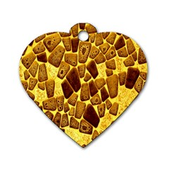 Yellow Cast Background Dog Tag Heart (two Sides)