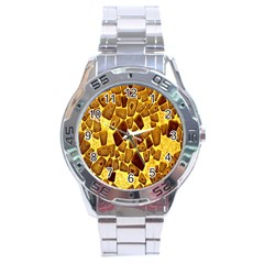 Yellow Cast Background Stainless Steel Analogue Watch