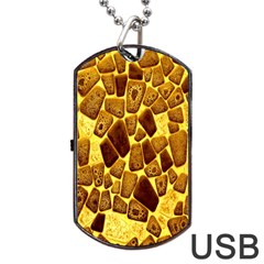 Yellow Cast Background Dog Tag Usb Flash (two Sides)