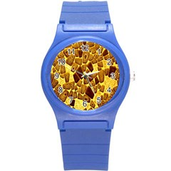 Yellow Cast Background Round Plastic Sport Watch (s)