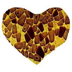 Yellow Cast Background Large 19  Premium Flano Heart Shape Cushions