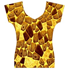 Yellow Cast Background Women s V-Neck Cap Sleeve Top