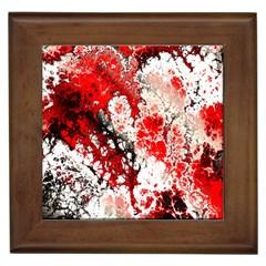 Red Fractal Art Framed Tiles