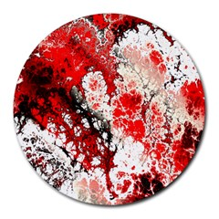 Red Fractal Art Round Mousepads