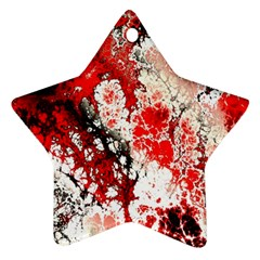 Red Fractal Art Ornament (star)
