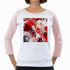 Red Fractal Art Girly Raglans