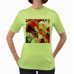 Red Fractal Art Women s Green T Shirt