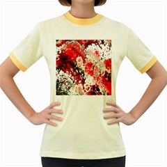 Red Fractal Art Women s Fitted Ringer T-Shirts