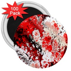 Red Fractal Art 3  Magnets (100 Pack)