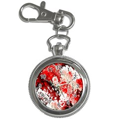 Red Fractal Art Key Chain Watches