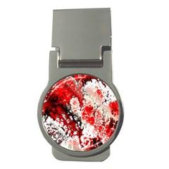 Red Fractal Art Money Clips (round)