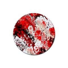 Red Fractal Art Rubber Round Coaster (4 pack)