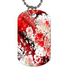 Red Fractal Art Dog Tag (one Side)