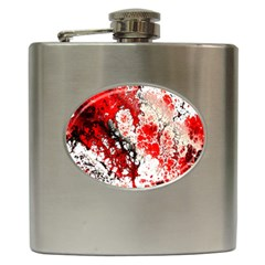 Red Fractal Art Hip Flask (6 Oz)