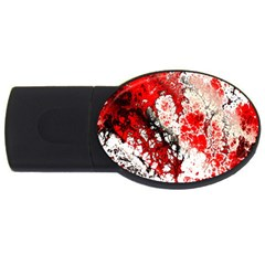 Red Fractal Art Usb Flash Drive Oval (2 Gb)