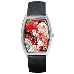 Red Fractal Art Barrel Style Metal Watch