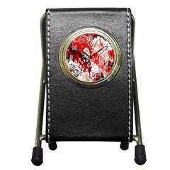 Red Fractal Art Pen Holder Desk Clocks