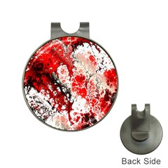 Red Fractal Art Hat Clips With Golf Markers