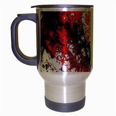 Red Fractal Art Travel Mug (silver Gray)
