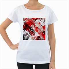 Red Fractal Art Women s Loose-Fit T-Shirt (White)