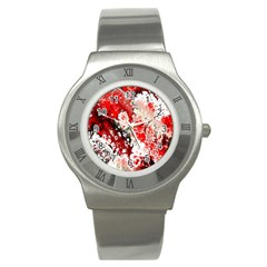 Red Fractal Art Stainless Steel Watch