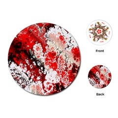 Red Fractal Art Playing Cards (round)