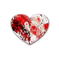 Red Fractal Art Rubber Coaster (heart)