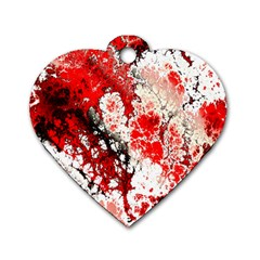 Red Fractal Art Dog Tag Heart (two Sides)
