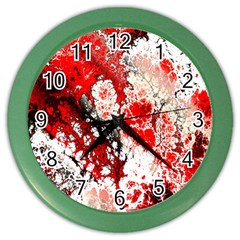 Red Fractal Art Color Wall Clocks