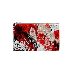 Red Fractal Art Cosmetic Bag (Small)
