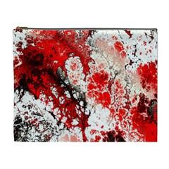 Red Fractal Art Cosmetic Bag (xl)