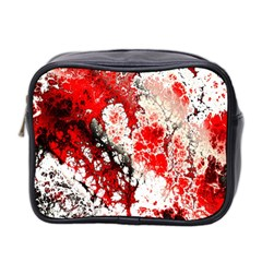 Red Fractal Art Mini Toiletries Bag 2-Side