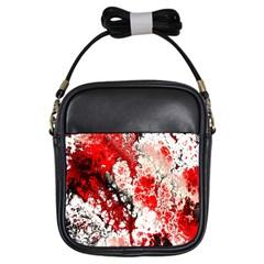 Red Fractal Art Girls Sling Bags