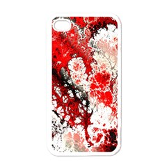 Red Fractal Art Apple Iphone 4 Case (white)