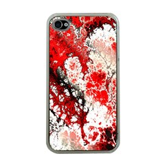 Red Fractal Art Apple Iphone 4 Case (clear)