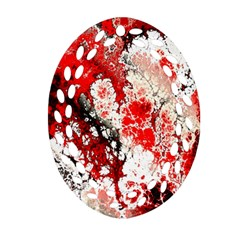Red Fractal Art Oval Filigree Ornament (two Sides)